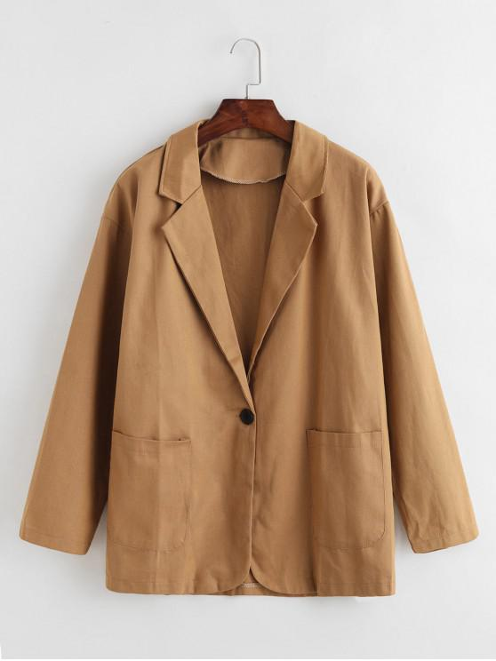 fancy Solid One Buttoned Patched Pockets Blazer - CINNAMON ONE SIZE