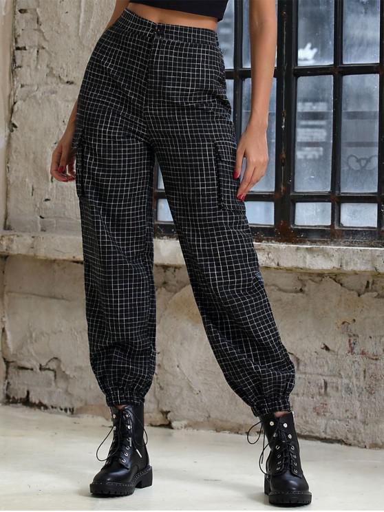 trendy Grid Print Zipper Fly Jogger Pants - BLACK L