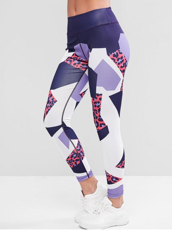 Leopard Print Colorblock Mid Vita Leggings - Leopardo XL
