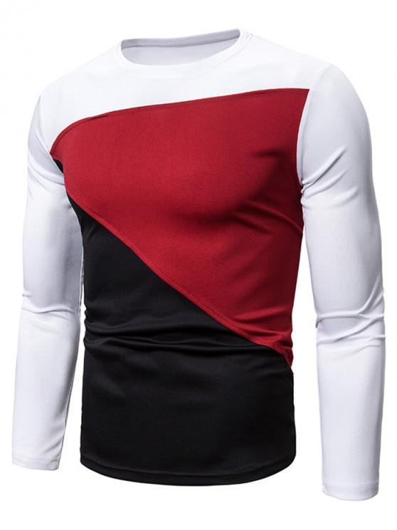 sale Color Blocking Spliced Long Sleeve T-shirt - WHITE 2XL