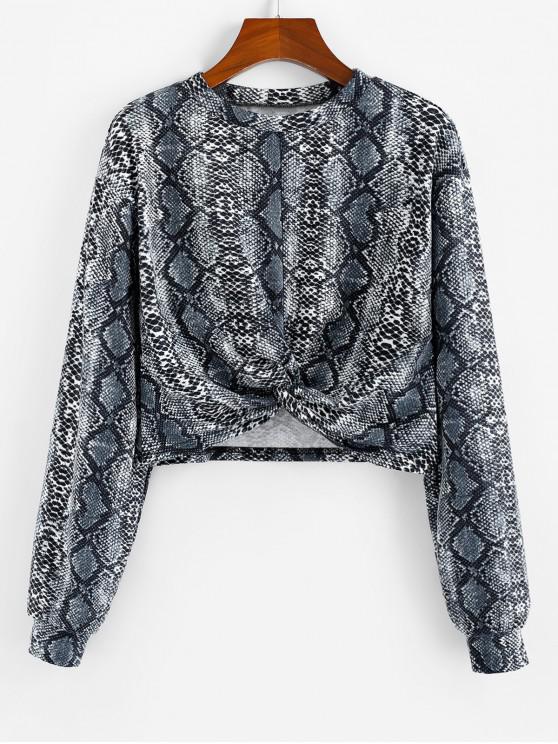 outfits ZAFUL Snakeskin Print Twist Front Crop Sweatshirt - MULTI L