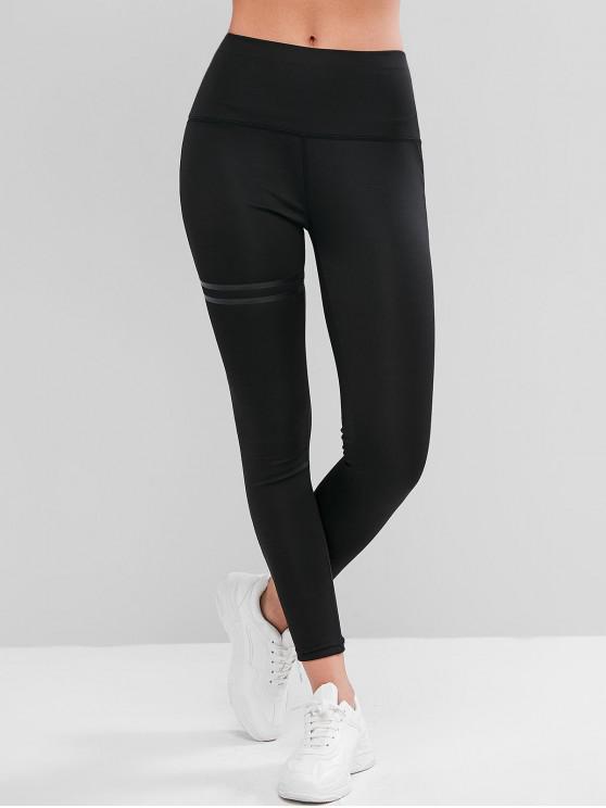 women Wide Waistband Reflective Stripes Topstitching Leggings - BLACK S