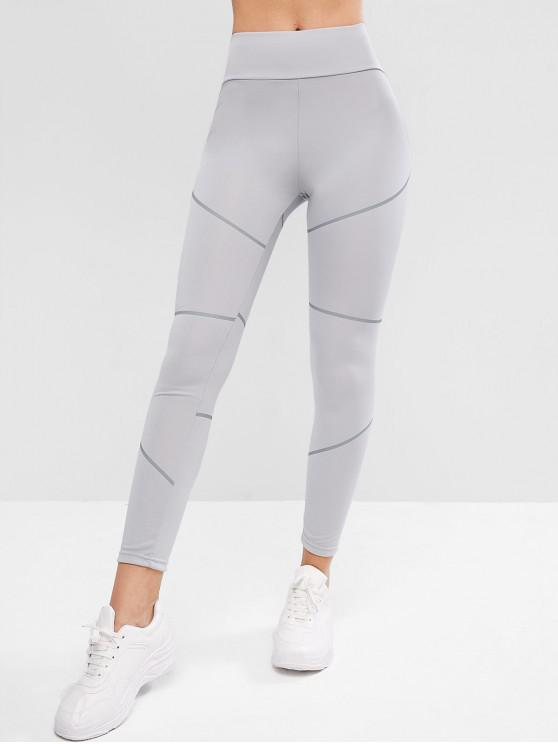 women's Reflective Stripes High Waisted Skinny Leggings - GRAY CLOUD S