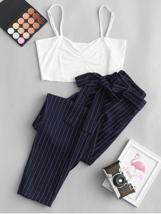 hot ZAFUL Cropped Cami Top and Striped Print Belted Pants Set - MIDNIGHT BLUE M