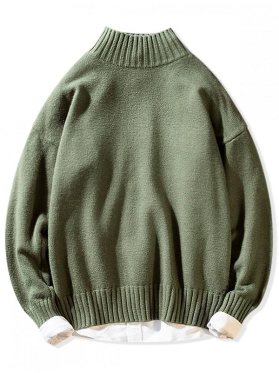 best Solid Mock Neck Casual Pullover Sweater - GREEN L