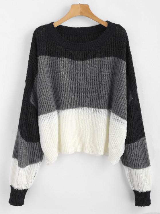 women ZAFUL Oversized Stripes Sweater - MULTI-D ONE SIZE