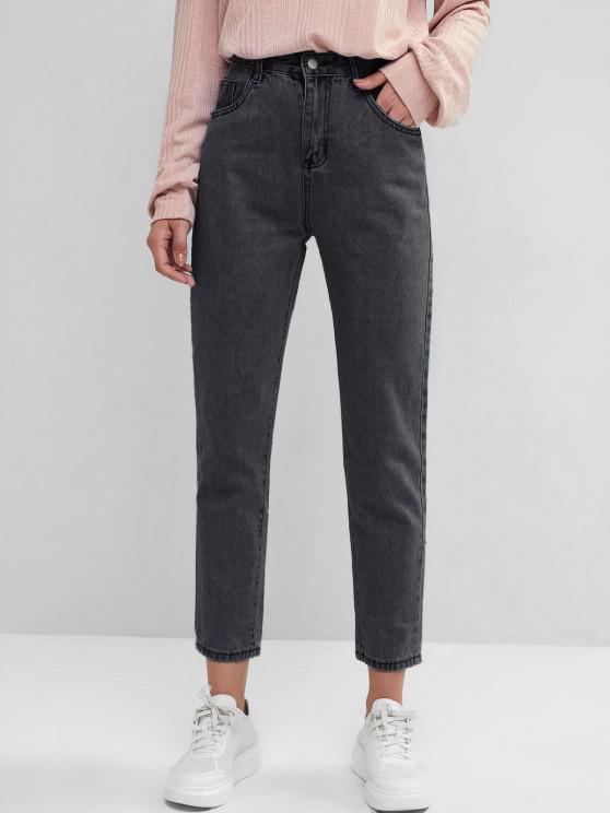 unique Basic Mom Jeans - BLACK L