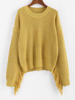 ZAFUL Fringed Drop Shoulder Loose Sweater - Goldenrod S