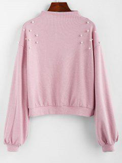 ZAFUL Faux Pearl Embellished Drop Shoulder Boat Neck Sweatshirt - Pink S