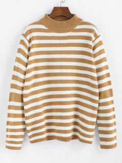 ZAFUL Striped Mock Neck Loose Sweater - Brown Sugar S