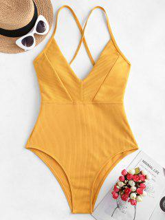 ZAFUL Crisscross Ribbed One-piece Swimsuit - Golden Brown M