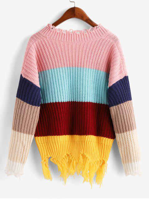ladies Colorblock Distressed Chunky Sweater - MULTI-A S Mobile