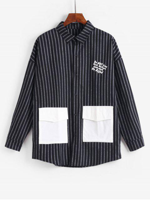chic Casual Striped Letter Pattern Jacket - BLACK L Mobile