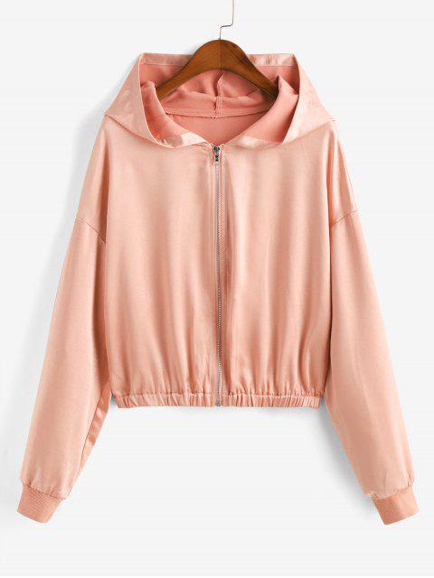 shop ZAFUL Zip Up Satin Solid Hooded Jacket - ORANGE PINK M Mobile