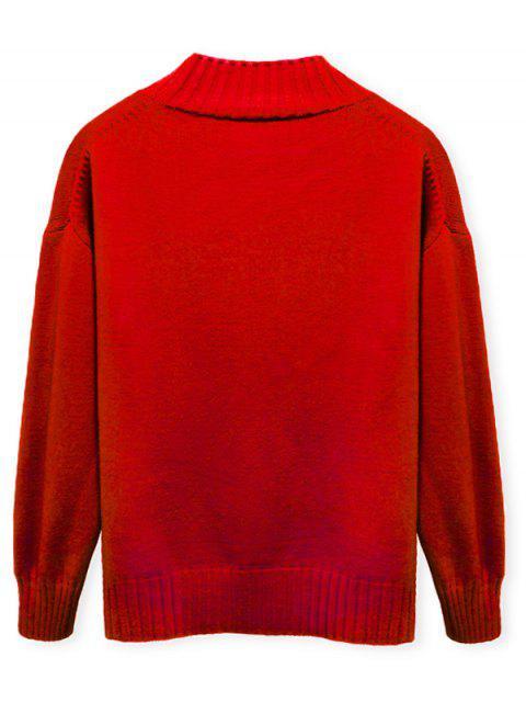 Einfarbiger Stehkragen Lässige Pullover - Rot M Mobile
