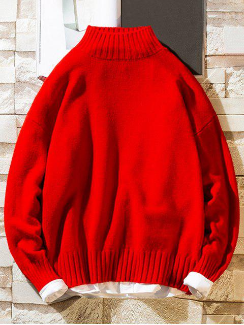 Einfarbiger Stehkragen Lässige Pullover - Rot XS Mobile