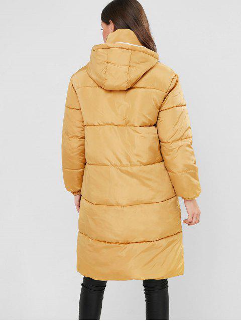 Kapuze Klappen Tasche Reißverschluss Lange Puffer Mantel - Biene Gelb XL Mobile