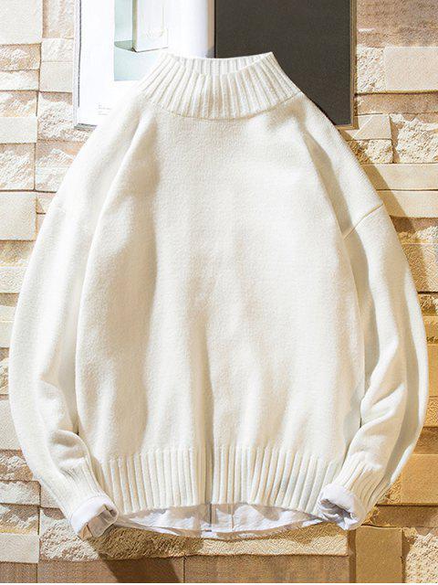 Einfarbiger Stehkragen Lässige Pullover - Weiß S Mobile
