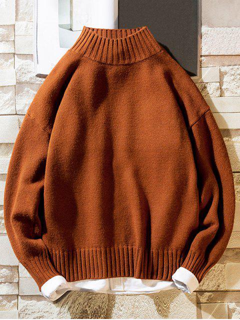 Einfarbiger Stehkragen Lässige Pullover - Kaffee M Mobile