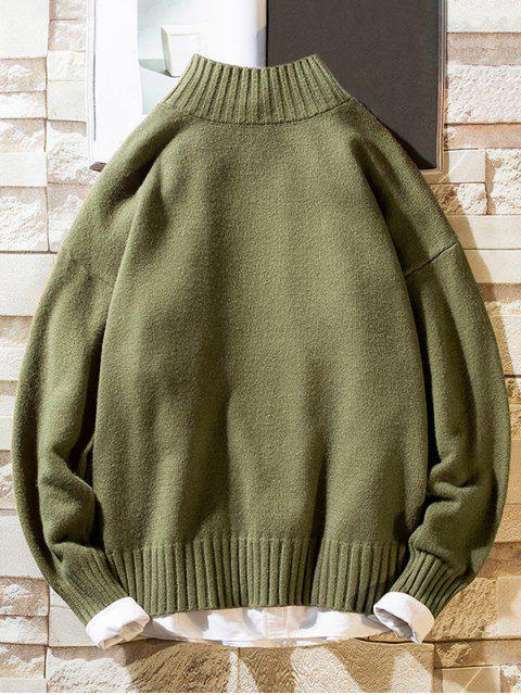 Einfarbiger Stehkragen Lässige Pullover - Armeegrün S Mobile