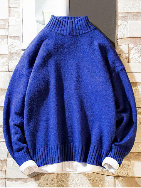 Einfarbiger Stehkragen Lässige Pullover - Blau M Mobile