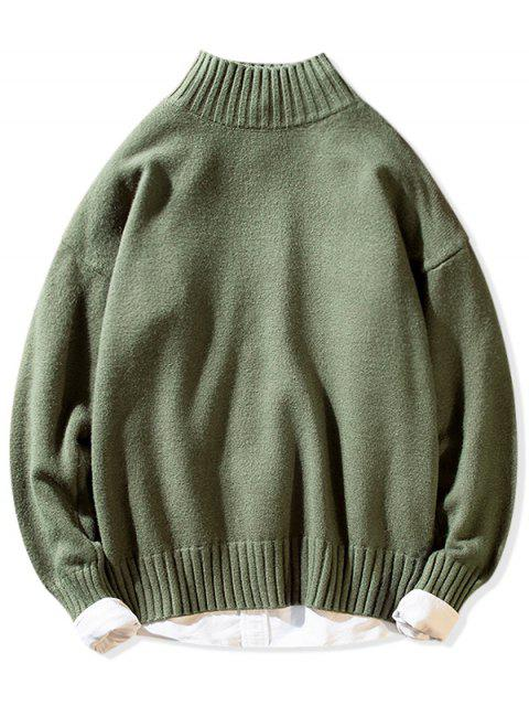 Einfarbiger Stehkragen Lässige Pullover - Grün M Mobile