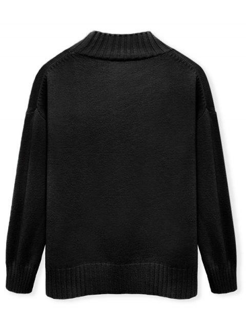 Einfarbiger Stehkragen Lässige Pullover - Schwarz M Mobile