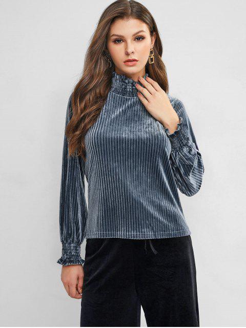 trendy Velvet Lantern Sleeve High Neck Tee - BLUE GRAY M Mobile