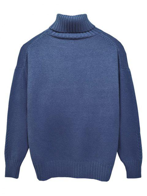 trendy Solid Color Casual Pullover Turtleneck Sweater - LIGHT BLUE XS Mobile