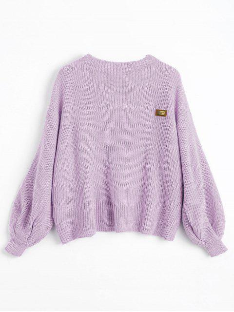 hot ZAFUL Oversized Chevron Patches Pullover Sweater - WISTERIA PURPLE ONE SIZE Mobile