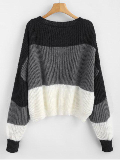 women ZAFUL Oversized Stripes Sweater - MULTI-D ONE SIZE Mobile