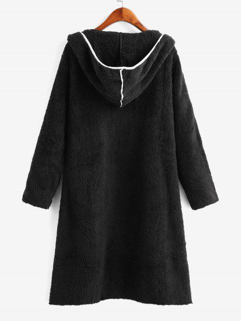 Manteau Fourré Ouvert Contrasté avec Double Poches - Noir L Mobile