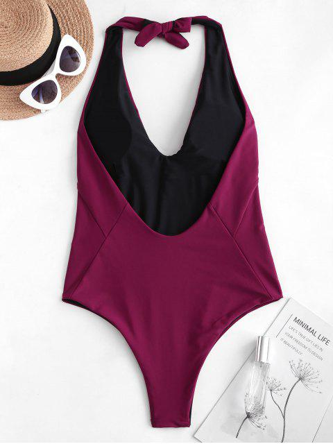 hot ZAFUL Halter Low Back One-piece Swimsuit - MAROON XL Mobile