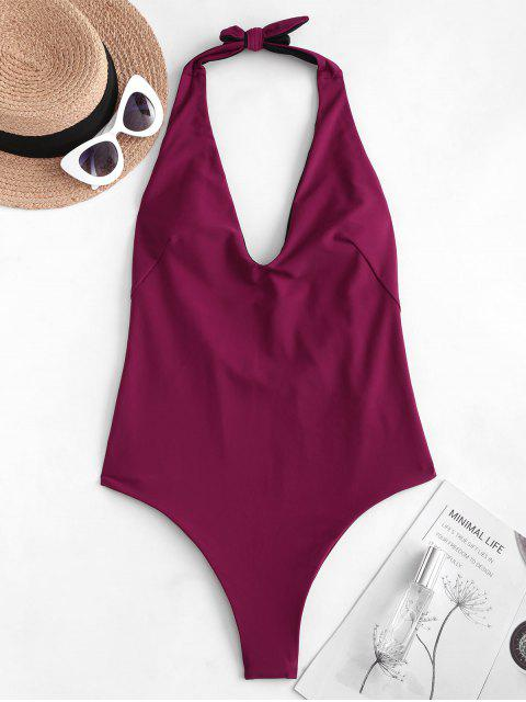 buy ZAFUL Halter Low Back One-piece Swimsuit - MAROON S Mobile
