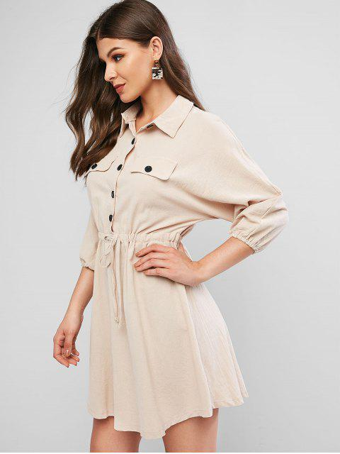 women's Drawstring Waist Half Buttoned Mini Casual Dress - LIGHT KHAKI S Mobile