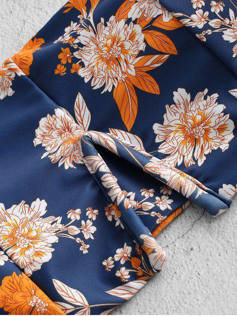 ZAFUL Flower V-alambre High Cut Bandeau bikini traje - Azul S Mobile