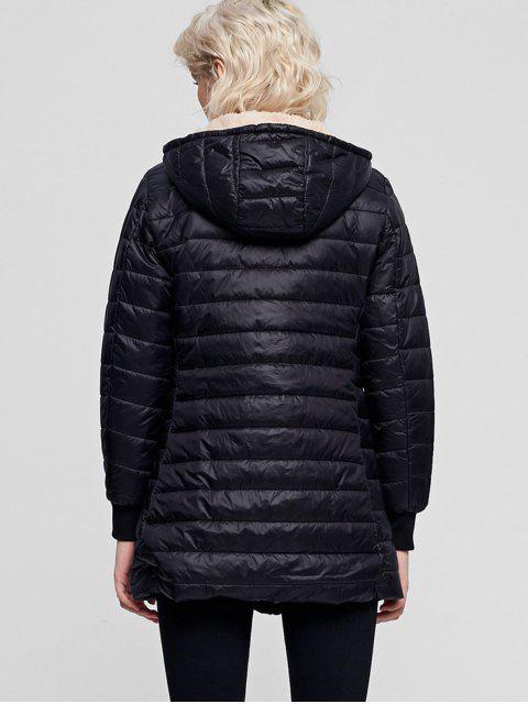 Manteau à Capuche Rembourré Zippé Fourré avec Poche - Noir XL Mobile