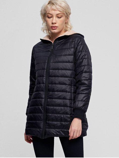 Esponjoso forrado bolsillo con cremallera con capucha capa acolchada - Negro L Mobile
