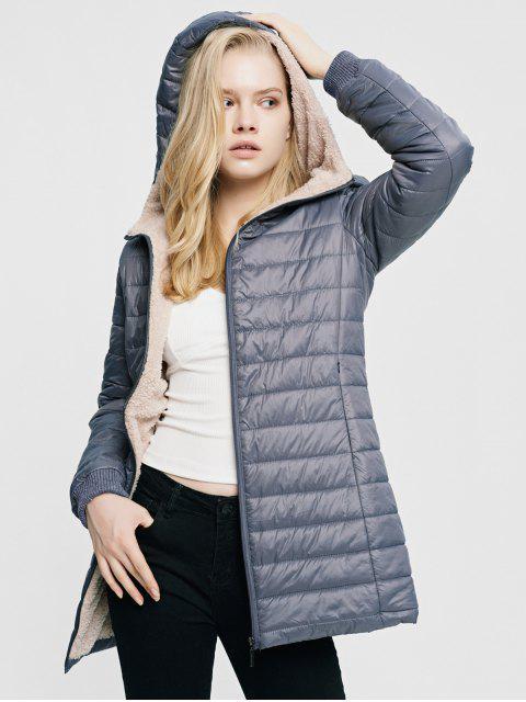 Manteau à Capuche Rembourré Zippé Fourré avec Poche - Gris XL Mobile