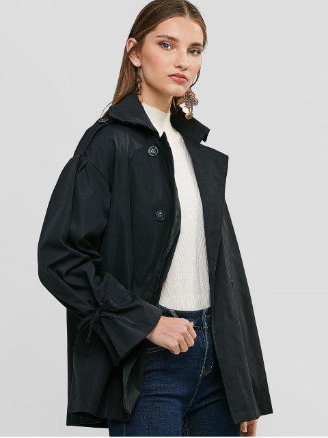 Cordón de la manga los bolsillos del abrigo de doble botonadura - Negro M Mobile