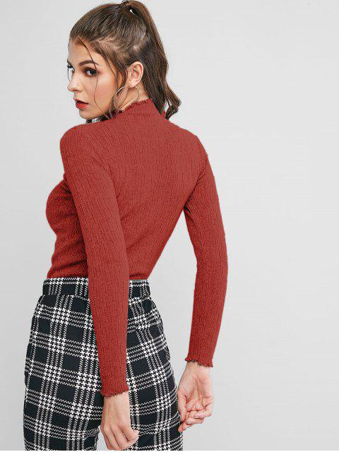 lady Solid Lettuce Trim Mock Neck Slim Sweater - RED ONE SIZE Mobile