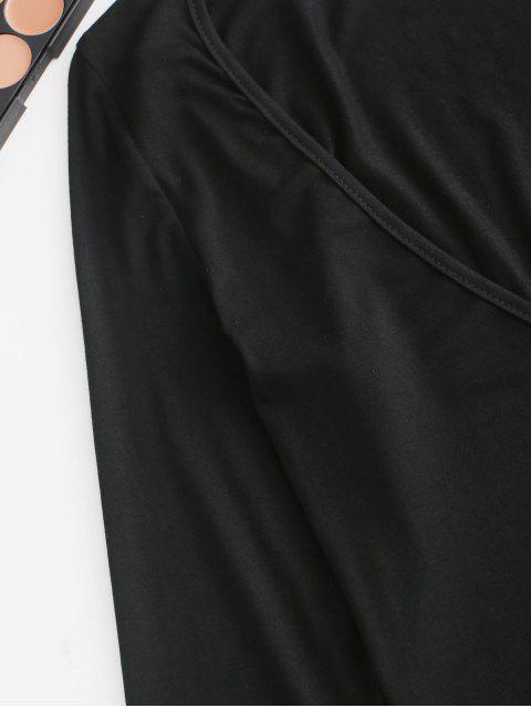 ZAFUL Plunge cuello largo manga llana Body - Negro S Mobile