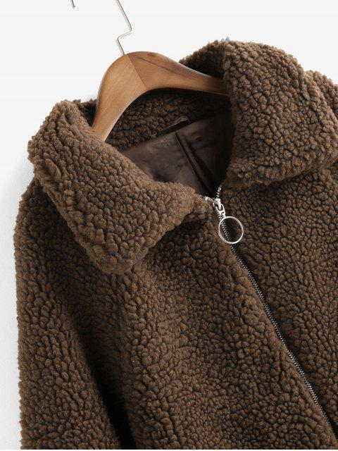 Faux Shearling Reißverschluss Flauschige Taschen Teddy Mantel - Kaffee L Mobile
