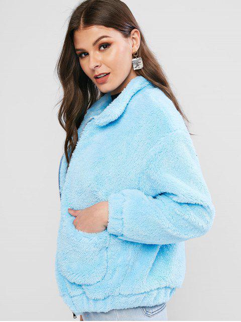 ladies Drop Shoulder Pocket Zip Fluffy Teddy Coat - BLUE XL Mobile