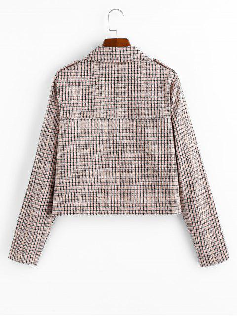 fancy Checked Pocket Shirt Collar Coat - MULTI-A XL Mobile