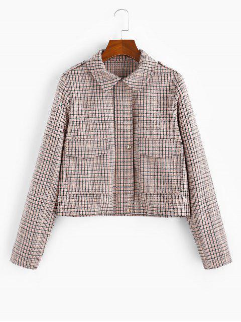 women's Checked Pocket Shirt Collar Coat - MULTI-A L Mobile