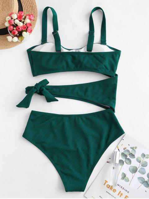 shops ZAFUL Textured Cutout Bandeau One-piece Swimsuit - GREENISH BLUE M Mobile