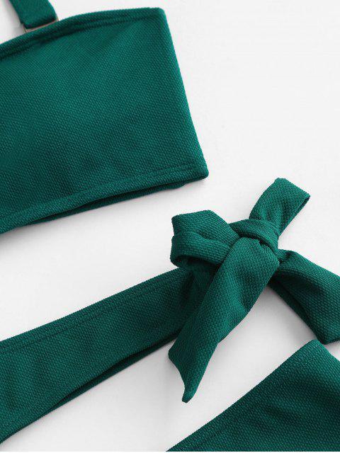 ZAFUL С вырезом Бандо Текстурированный Слитный Купальник - Зелено-синий L Mobile
