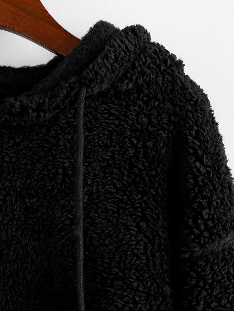 ZAFUL豹紋抽繩蓬鬆連帽衫 - 黑色 M Mobile