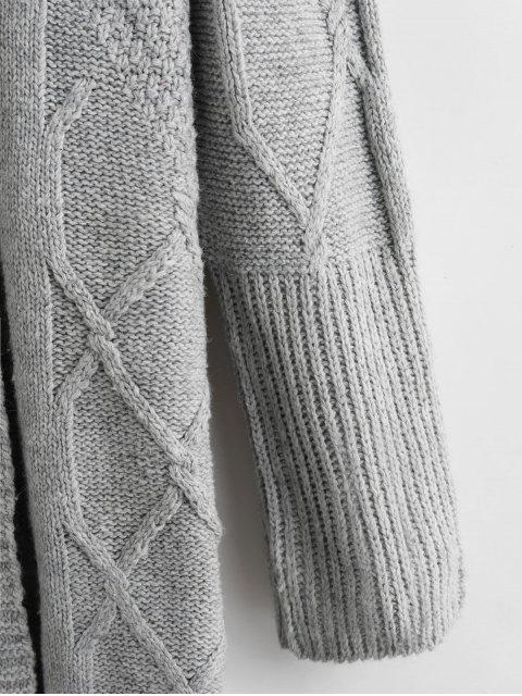 連帽延繩釣開放門襟電纜針織開襟衫 - 灰色 One Size Mobile